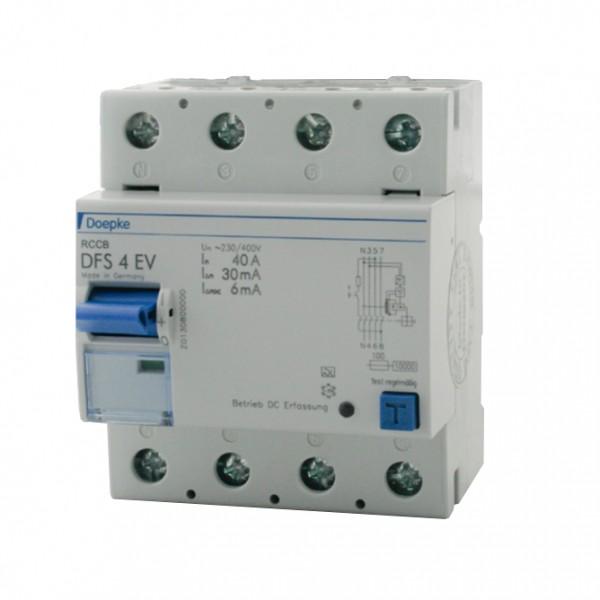 Wyłącznik różnicowo-prądowy do ładowarki Wallbox Doepke DFS4 040-4/0,03-EV