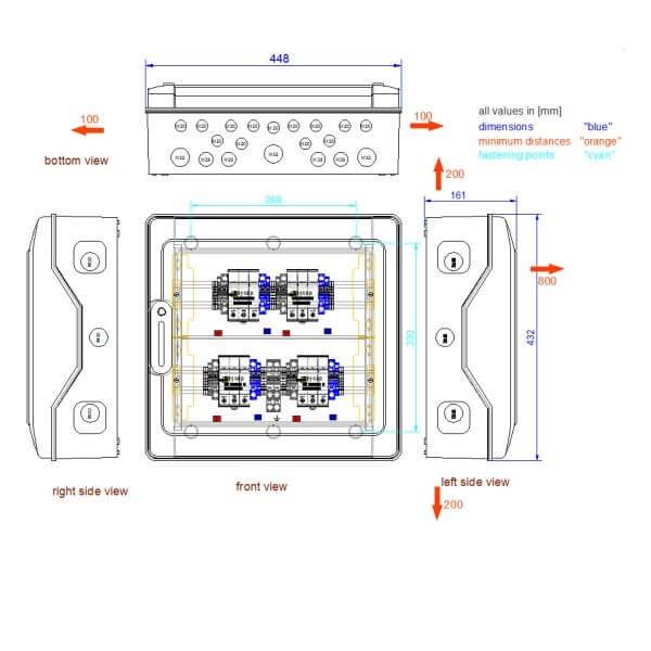 enwitec Ochrona przepięciowa DC Typ I+II, 4 MPPT, zaciski