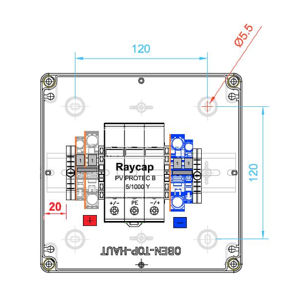enwitec Ochrona przepięciowa Raycap DC Typ II, 1 MPPT, zaciski